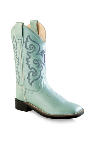 Old West Light Green Children Girls Square Toe Cowboy Western Boots