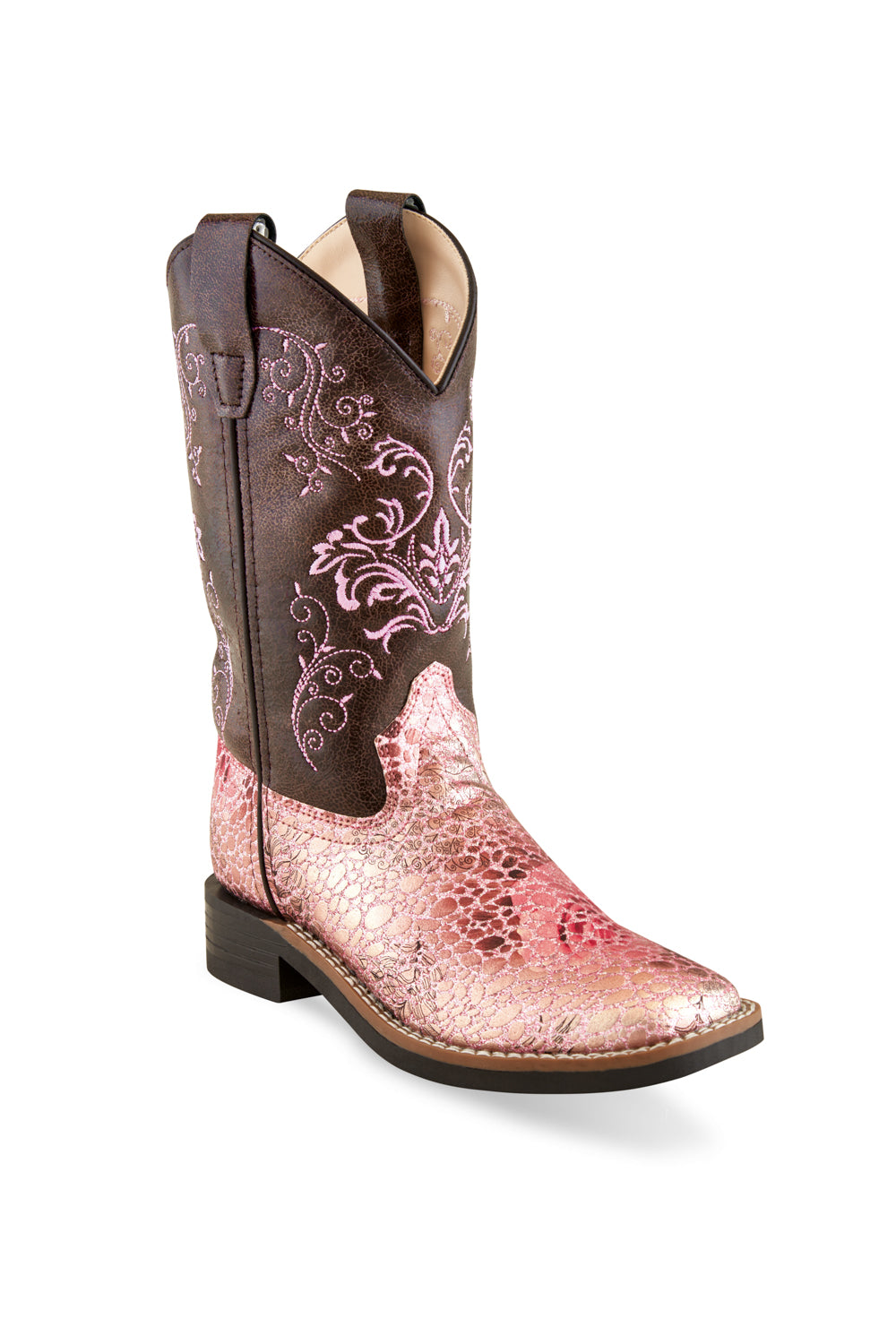 389ee47e61a Old West Antique Pink/Crackle Children Girls Faux Leather Cowboy Boots