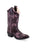Old West Dark Brown Kids Girls Faux Leather Inlay Cowboy Boots