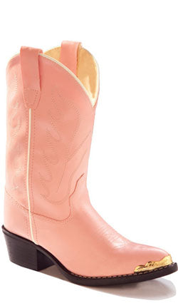 Old West Pink Childrens Girls Man Made Material J Toe Stitch Cowboy Boots