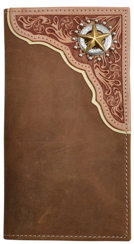3D Brown Leather Rodeo Wallet Floral Tooled