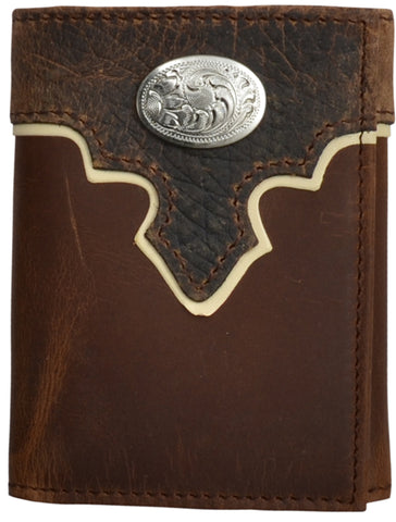 3D Brown Leather Trifold Wallet Dark Bullhide