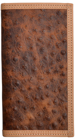 3D Brown Leather Rodeo Wallet Ostrich Print