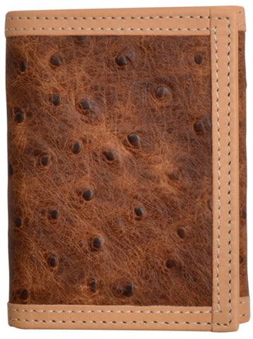 3D Brown Leather Trifold Wallet Ostrich Print