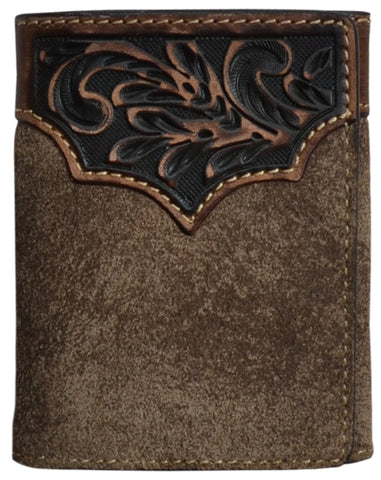 3D Brown Leather Mens Trifold Wallet Hand-Tooled