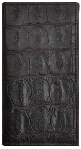 3D Brown Leather Rodeo Wallet Gator Print