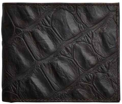 3D Brown Leather Bifold Wallet Gator Print