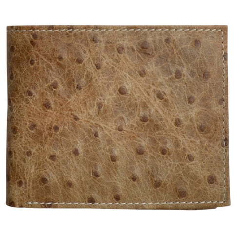 3D Brown Leather Bifold Wallet Ostrich Print