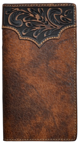 3D Brown Leather Rodeo Wallet Crystal Cognac