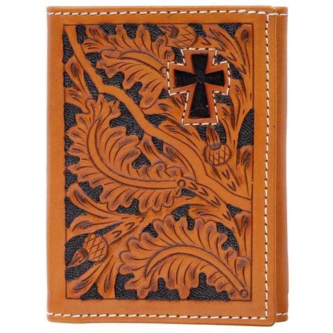 3D Natural Leather Trifold Wallet Acorn Tooled Cross
