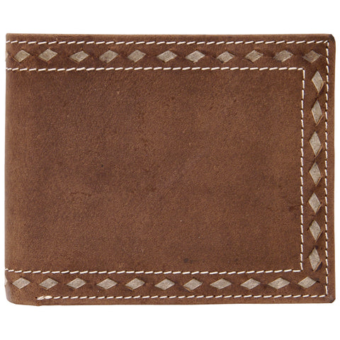 3D Brown Distressed Leather Bifold Wallet Buckstitch Rawhide