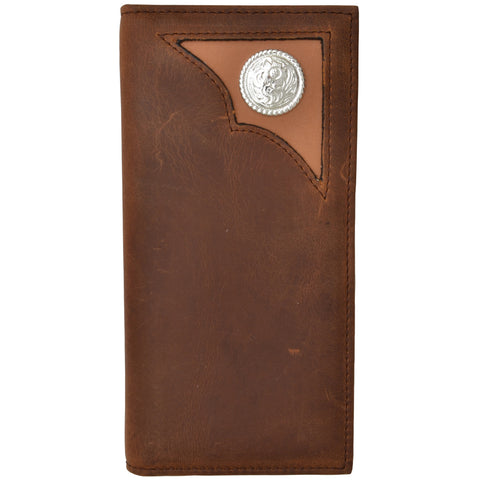 3D Brown Leather Rodeo Wallet Silver Concho Distressed