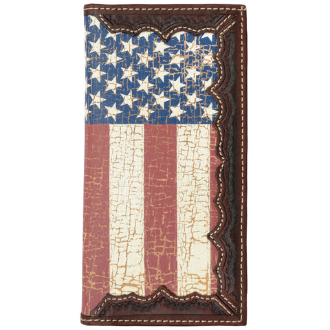 3D Brown Leather Rodeo Wallet American Flag Screenprint Inlay