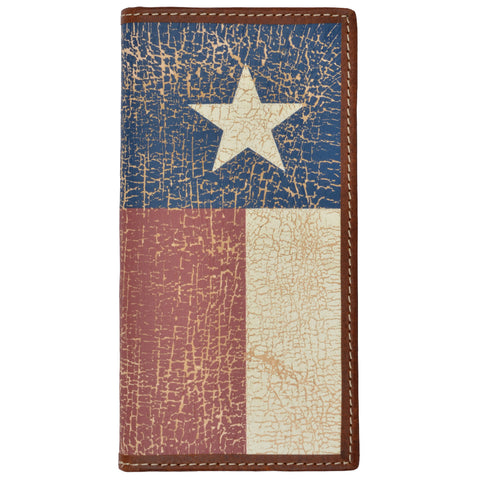 3D Brown Leather Rodeo Wallet Texas Flag Inlay Vintage
