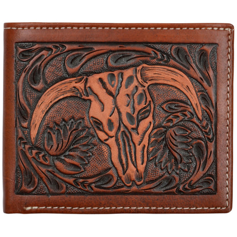 3D Tan Leather Bifold Wallet Steer Head Tooled