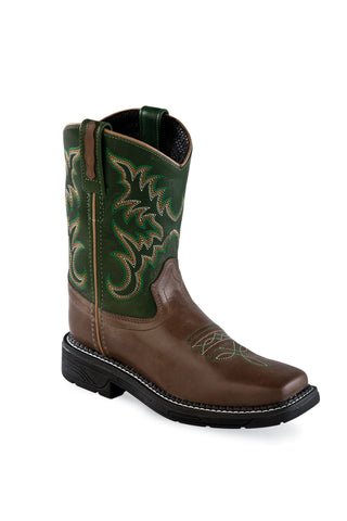 Old West Green/Brown Kids Boys Leather Sq Toe Cowboy Boots