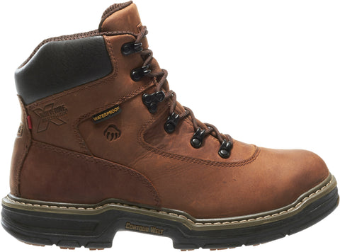 Wolverine Mens Brown Leather Marauder WP 6in Work Boots