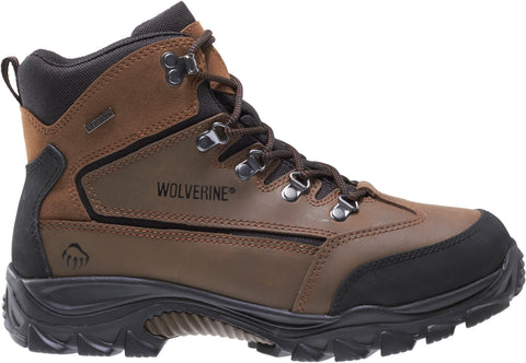 Wolverine Mens Brown/Black Leather Spencer WP Mid Hiking Boots