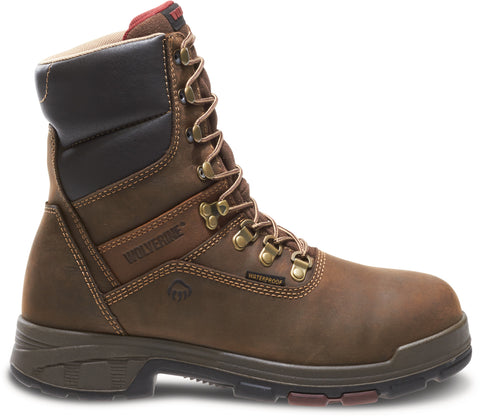 Wolverine Mens Dark Coffee Leather Cabor EPX WP 8in Work Boots