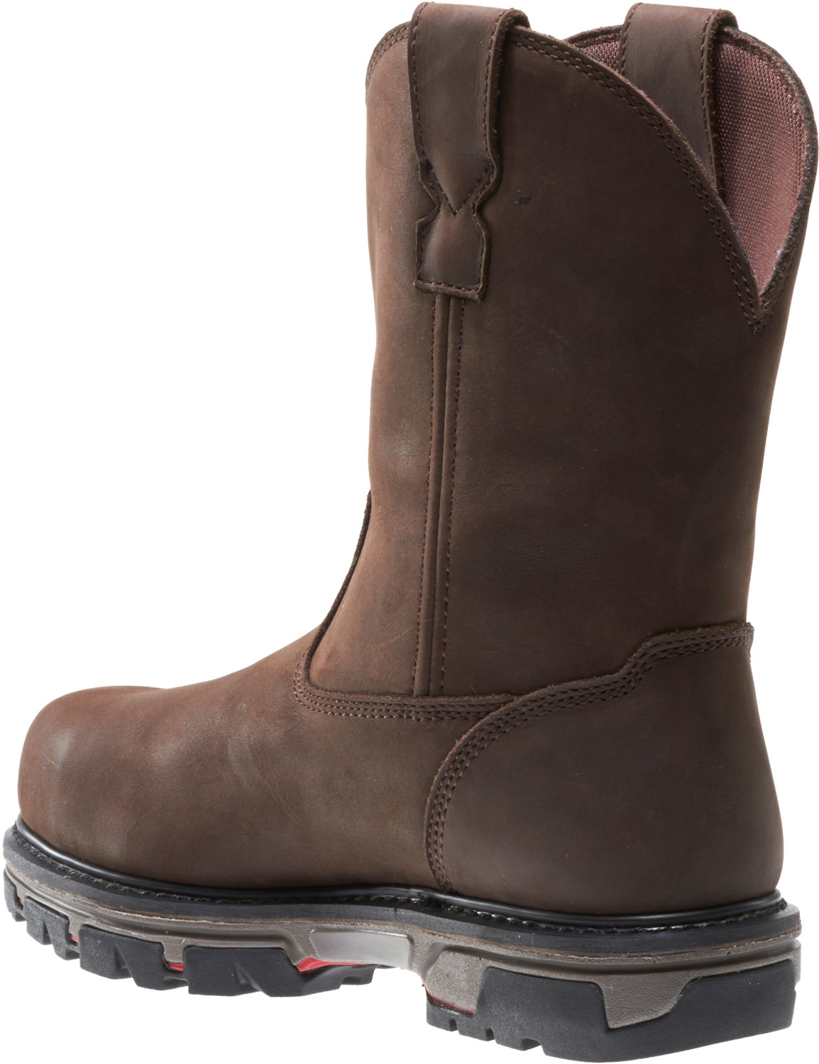 d2a51e2d0aa Wolverine Mens Dark Brown Leather Nation CT Wellington Work Boots ...