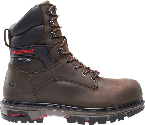 Wolverine Mens Dark Brown Leather Nation CarbonMax 8in Work Boots