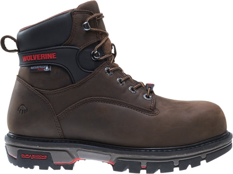 Wolverine Mens Dark Brown Leather Nation CarbonMax 6in Work Boots