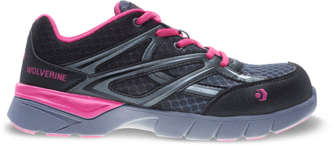 Wolverine Womens Grey/Pink Mesh Jetstream CarbonMax Work Shoes