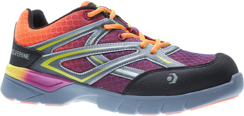 Wolverine Womens Orange/Purple Mesh Jetstream CarbonMax Work Shoes