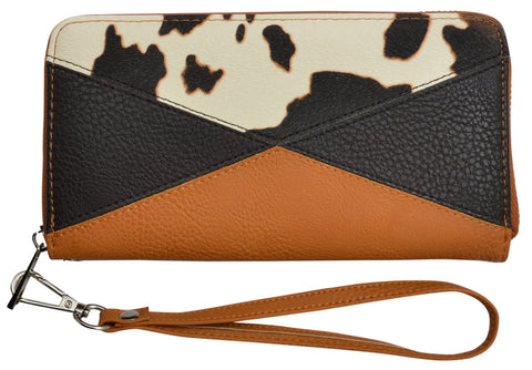 Angel Ranch Brown Faux Leather Womens Clutch Wallet Cowprint