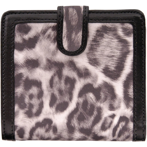 Angel Ranch Black Puma Print Leather Womens Clutch Wallet White