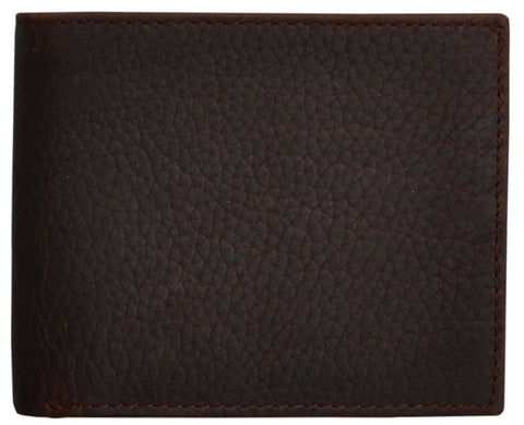 Western Classic Dark Brown Leather Bifold Wallet Pebble-Grain