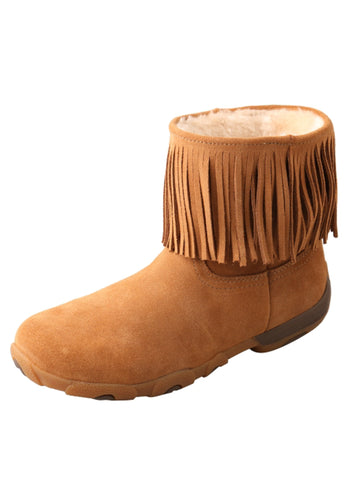 Twisted X Womens Brown Sheepskin Fringe Driving Mocs Casual Boots