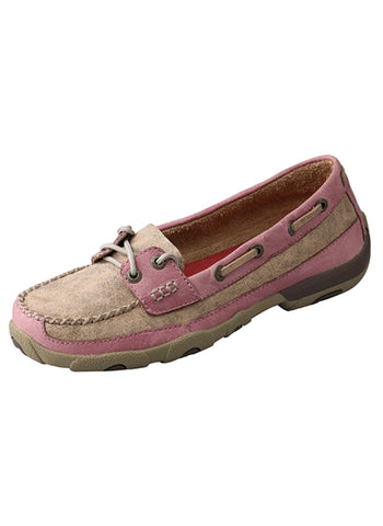Twisted X Womens Pink Leather Driving Mocs Casuals for Cowboys Shoes