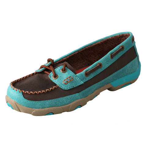 Twisted X Womens Brown Leather Turquoise Mocs Casuals for Cowboys Shoes