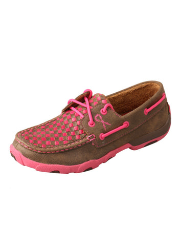 Twisted X Womens Pink Leather Shoes Casuals for Cowboys Driving Mocs