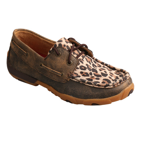 Twisted X Womens Leopard/Brown Leather Driving Moccasins