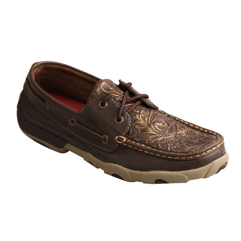 Twisted X Womens Brown Leather Embossed Driving Moccasins
