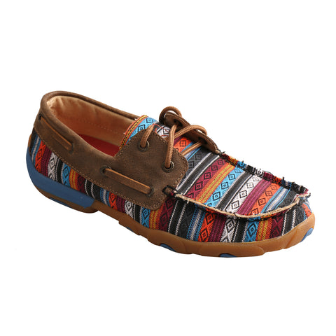 Twisted X Womens Serape/Bomber Canvas Stripe Driving Moccasins