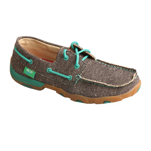 Twisted X Womens Dust/Turquoise Canvas ECO Driving Moccasins