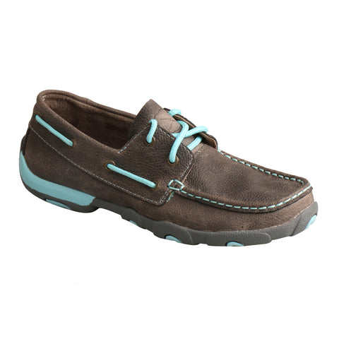 Twisted X Womens Grey/Light Blue Leather Mocs Driving Moccasins