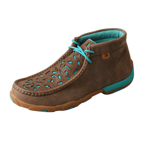 Twisted X Bomber/Turquoise Womens Leather Chukka Driving Mocs Boots