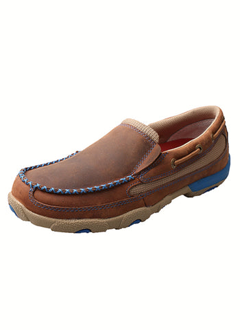 Twisted X Womens Saddle Leather Slip On Blue Casuals for Cowboys Shoes