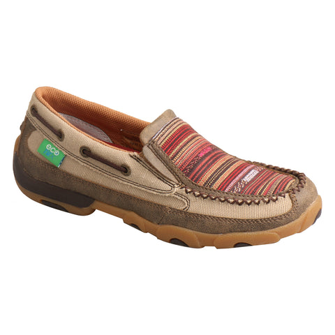 Twisted X Womens Khaki/Multi Leather/Canvas Stripe Driving Moccasins
