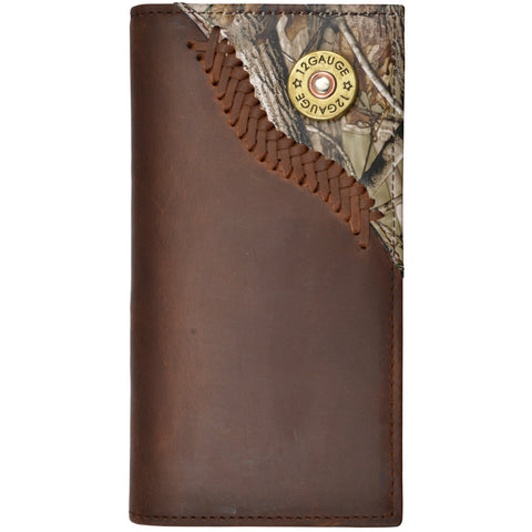 Justin Brown Distressed Leather Rodeo Wallet AP Camo Shell Concho