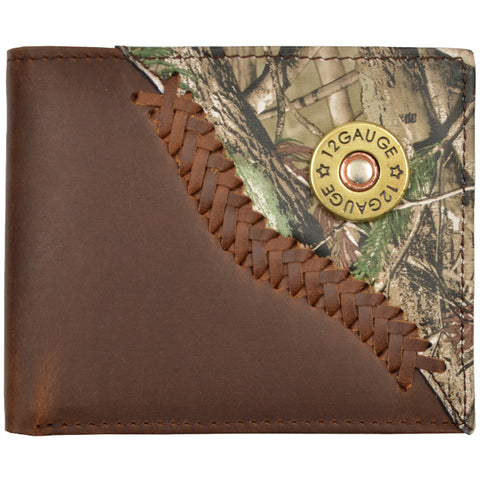 Justin Brown Distressed Leather Bifold Wallet AP Camo Shell Concho