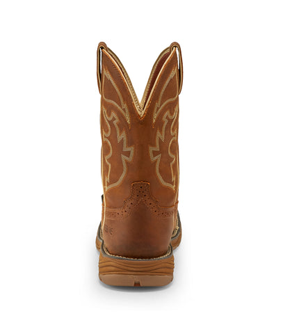 Justin 11in WP ST Mens Rustic Tan Stampede Rush Leather Work Boots