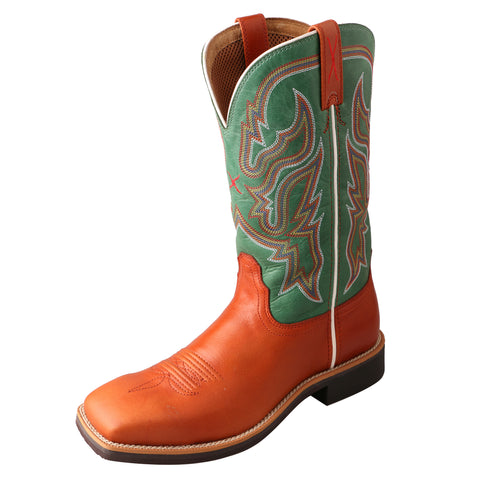 Twisted X Womens Green Leather 11in Cognac Top Hand Cowboy Boots
