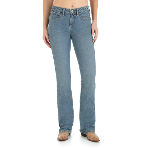 Wrangler Tinted Mid-Stone Cotton Blend Womens Western Aura Jeans