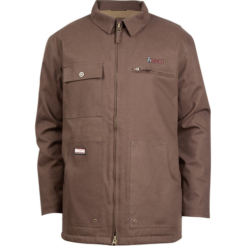 Rocky WorkSmart Mens Brown 100% Cotton Canvas Insulated WP Chore Coat