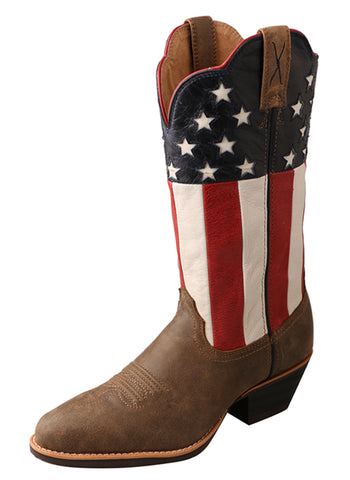 Twisted X Womens Bomber Leather USA Flag 12in Western Cowboy Boots